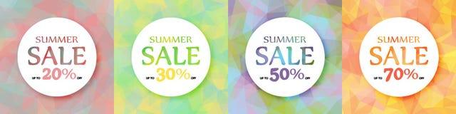 En uppsättning av runda färgrika advertizingbaner Rabatt av 20, 30, 50, 70% Sommarhandling vektor illustrationer