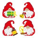 En uppsättning av santa gnomer med olika objekt som målas i fyrkanter, PIXEL Lyckligt hälsningskort för nytt år också vektor för  royaltyfri illustrationer