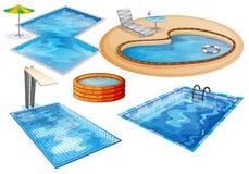 En uppsättning av simbassängen vektor illustrationer