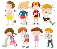 En uppsättning av sjuka barn vektor illustrationer