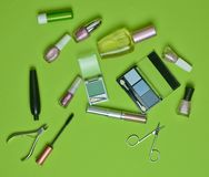En uppsättning av skönhetsmedel för att applicera makeup på en grön bakgrund What& x27; s i women&en x27; kosmetisk påse för s? Royaltyfria Bilder