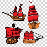 En uppsättning av skissar av skepp med RÖTT seglar stock illustrationer