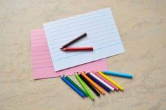 En uppsättning av små kulöra blyertspennor Royaltyfria Foton