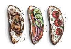 En uppsättning av smörgåsar som ska väljas från att passa alla smak för ` s royaltyfri illustrationer