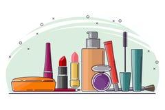 En uppsättning av sminkskönhetsmedel för smink Arkivfoton