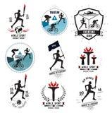 En uppsättning av sportlogoer, emblem och designbeståndsdelar Arkivfoto
