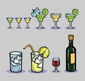 En uppsättning av stiliserade drinkar Royaltyfria Bilder