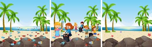 En uppsättning av strandlokalvård royaltyfri illustrationer