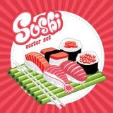 En uppsättning av sushi  Arkivbilder