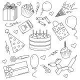 En uppsättning av svartvita beståndsdelar för en födelsedag vektor illustrationer