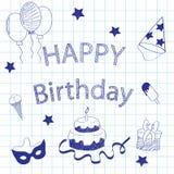 En uppsättning av symboler för födelsedag, en ferie royaltyfri illustrationer