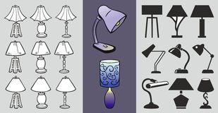 En uppsättning av symboler för tabelllampa Stiliserade lampsymboler och spårat royaltyfri illustrationer