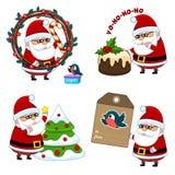 En uppsättning av symboler med Santa Claus royaltyfri illustrationer