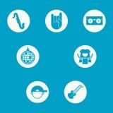 En uppsättning av symboler som föreställer olika musikgenrer royaltyfri illustrationer