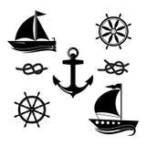 En uppsättning av symboler av en yacht, en roder, en segelbåt, ett rep vektor illustrationer