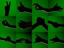 En uppsättning av tecken på fingrarna av mänskliga händer som visas av konturer på en isolerad grön bakgrund royaltyfri foto