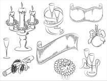 En uppsättning av teckningar av jul Arkivfoto