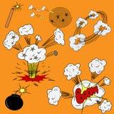 En uppsättning av teckningar på temat av explosionbang Arkivbild