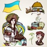 En uppsättning av teckningar av ukrainska tecken Arkivbild