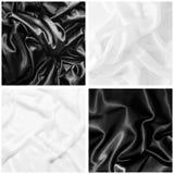 En uppsättning av texturer av svartvitt silke Arkivfoton