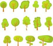 En uppsättning av träd Arkivbilder