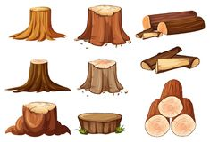 En uppsättning av trädstubbe och timmer stock illustrationer