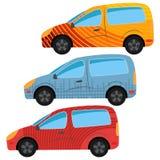 En uppsättning av tre bilar målade i olika färger Royaltyfri Bild