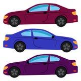 En uppsättning av tre bilar målade i olika färger Royaltyfri Foto