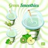 En uppsättning av tre gröna smoothies i plast- kopp med Royaltyfri Bild