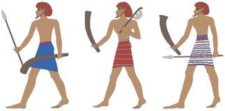 En uppsättning av tre historiska egyptiersoldater Krigare av Pharaonic Arkivfoton