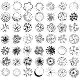 En uppsättning av treetopsymboler, for arkitektonisk eller landskapdesign Arkivbilder
