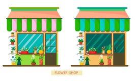 En uppsättning av två blomsterhandlar i en olik färgpalett på en vit bakgrund Plan stilillustration vektor illustrationer
