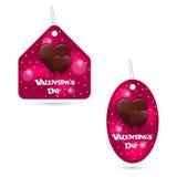 En uppsättning av två festliga rosa färgetiketter med smältande chokladhjärtor Daginskrift för valentin s stock illustrationer