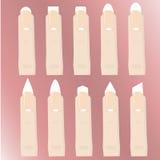 En uppsättning av typer av spikar former Tillvägagångssättet av spikar förlängningar manicure Arkivbild