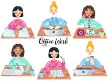 En uppsättning av unga flickor på arbete royaltyfri illustrationer