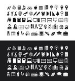 En uppsättning av utbildningssymboler Arkivbilder