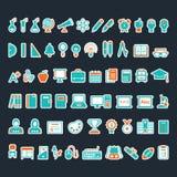 En uppsättning av utbildningssymboler Arkivfoto