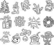 En uppsättning av utdragna julsymboler royaltyfri illustrationer