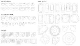 En uppsättning av utrustning för badrummet Toalettbunke, pissoar, vask, bad, bubbelpool, dusch Top beskådar Unshaded teckning för Arkivfoto