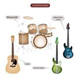En uppsättning av utrustning för skuggamusikbandmusik Royaltyfri Bild