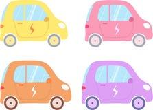 En uppsättning av vektorelbilar i olika färger stock illustrationer