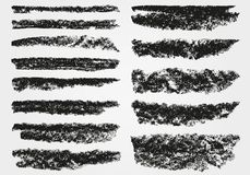 En uppsättning av vektorpenseldrag brushes vektorn Krita och kol måla fläckar Grunge textur vektor illustrationer