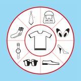 En uppsättning av vektorsymboler i form av ett pajdiagram på temat av kläder, skor och tillbehör också vektor för coreldrawillust stock illustrationer
