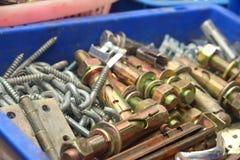 En uppsättning av verkliga använda rostfria skruvnycklar Fotografering för Bildbyråer