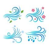 En uppsättning av vindvektorsymboler v?der f?r sun f?r oklarhetssymbolsregn stock illustrationer