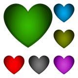 En uppsättning av volymetriska hjärtor av förälskelse valentin för dag s Arkivbilder