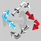 En uppsättning av volymetriska pilar för att designera riktningar av rörelse Royaltyfri Bild