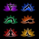 En uppsättning av yoga- och meditationsymboler Royaltyfri Fotografi