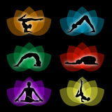 En uppsättning av yoga- och meditationsymboler Arkivbild