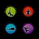 En uppsättning av yoga- och meditationsymboler Arkivfoto